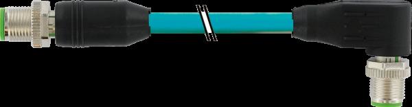 M12 St. 0° - M12 St. 90° gesch. X-cod. Gigabit 3 m