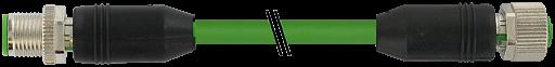 M12 St. 0° - M12 Bu. 0° gesch. D-cod. Ethernet 0,6 m