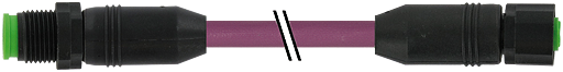 M12 St. 0° auf M12 Bu. 0° Lite CANopen/SAE J1939