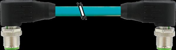 M12 St. 90° - M12 St. 90° gesch. X-cod. Gigabit 2 m