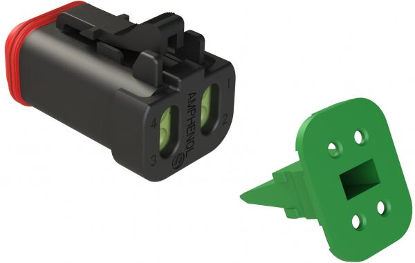 4-pol. Stecker mit reduziertem Dichtungsdurchmesser und Wedgelock