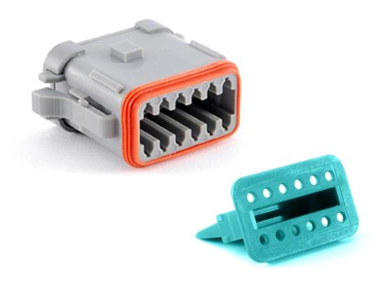 Steckverbinder 12-pol. für Powerverteiler PSF-2, grau, A-codiert
