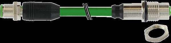 M12 Bu. Flansch - M12 St. 0° gesch. X-cod. Gigabit 1 m