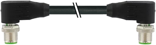 M12 St. 90° - M12 St. 90° gesch. D-cod. Ethernet 2,5 m