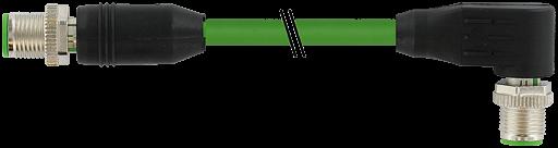 M12 St. 0° - M12 St. 90° gesch. D-cod. Ethernet 4 m