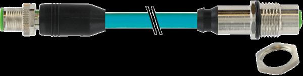 M12 Bu. Flansch - M12 St. 0° gesch. X-cod. Gigabit 5 m
